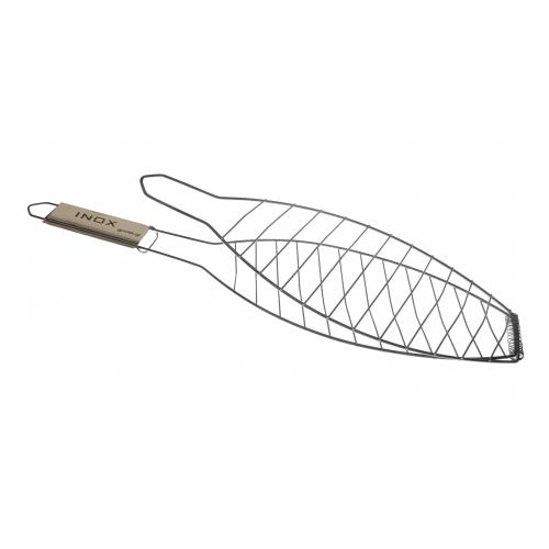 Σχάρα ψαριού με ξύλινο χέρι 66,5x14,5cm INOX